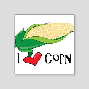 """I Love Corn Square Sticker 3"""" x 3"""""""