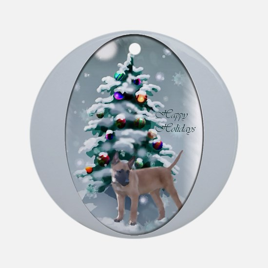 Belgian Malinois Christmas Round Ornament