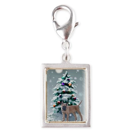 Belgian Malinois Christmas Silver Portrait Charm