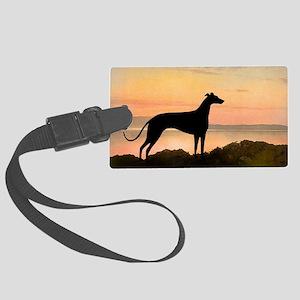 greyhound dog sunset wide Large Luggage Tag