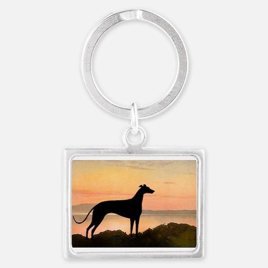 greyhound dog sunset wide.jpg Landscape Keychain