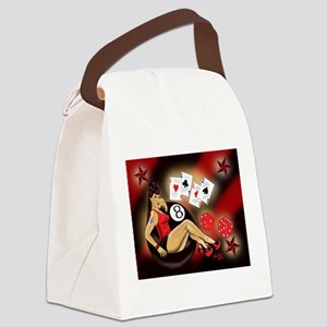 Rockabilly Eightball Pin-up Canvas Lunch Bag
