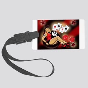 Rockabilly Eightball Pin-up Large Luggage Tag