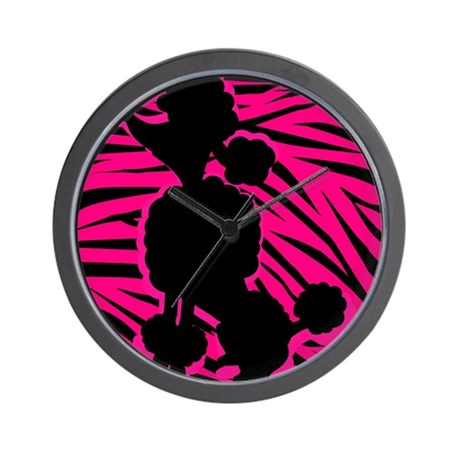 Zebra Striped Pink and Black Poodle Wall Clock