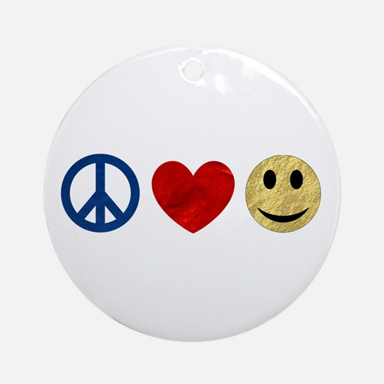 Peace Love Happiness Ornament (Round)