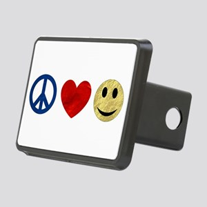 Peace Love Happiness Rectangular Hitch Cover