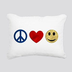 Peace Love Happiness Rectangular Canvas Pillow