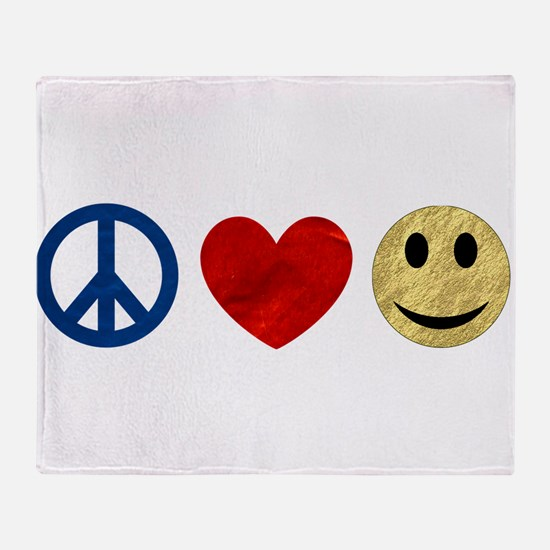 Peace Love Happiness Throw Blanket