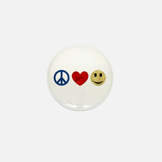 Peace Love Happiness Mini Button
