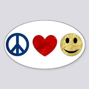 Peace Love Happiness Sticker (Oval)