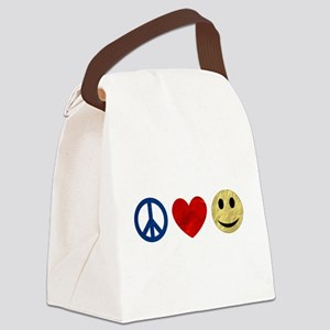 Peace Love Happiness Canvas Lunch Bag