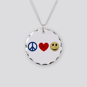 Peace Love Happiness Necklace Circle Charm