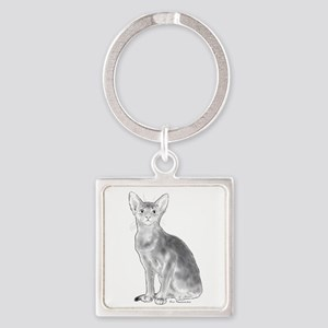Abyssinian Cat Black and White Square Keychain