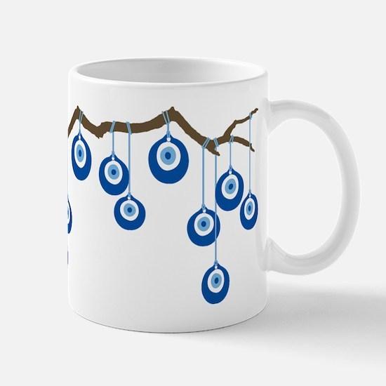 Blue Eye Amulets On Branch Mug