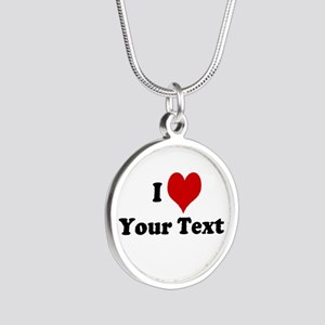 Customized I Love Heart Silver Round Necklace