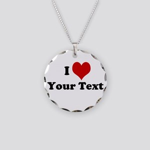 Customized I Love Heart Necklace Circle Charm