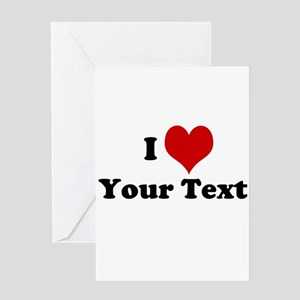 Customized I Love Heart Greeting Card