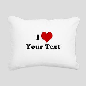 Customized I Love Heart Rectangular Canvas Pillow