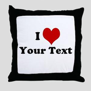 Customized I Love Heart Throw Pillow