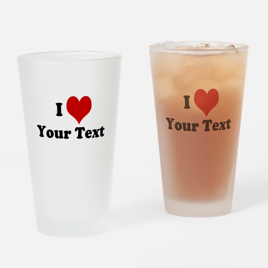 Customized I Love Heart Drinking Glass