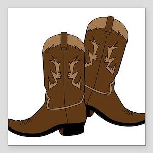 """Cowboy Boots Square Car Magnet 3"""" x 3"""""""