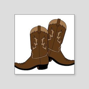 "Cowboy Boots Square Sticker 3"" x 3"""