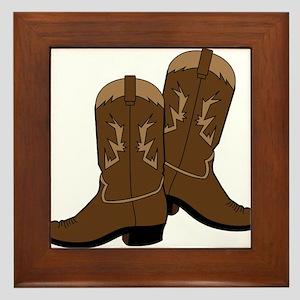 Cowboy Boots Framed Tile
