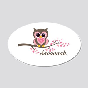 Custom Valentines Day owl 20x12 Oval Wall Decal