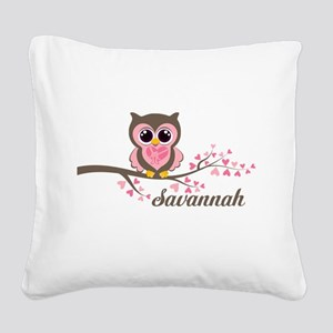 Custom Valentines Day owl Square Canvas Pillow