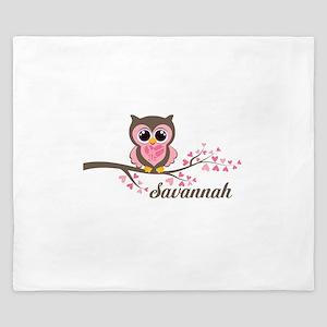 Custom Valentines Day owl King Duvet