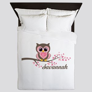 Custom Valentines Day owl Queen Duvet