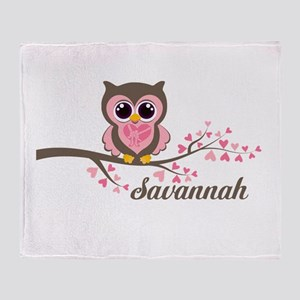 Custom Valentines Day owl Throw Blanket