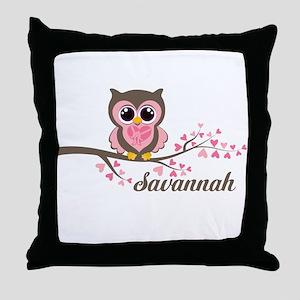 Custom Valentines Day owl Throw Pillow