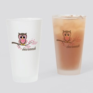 Custom Valentines Day owl Drinking Glass