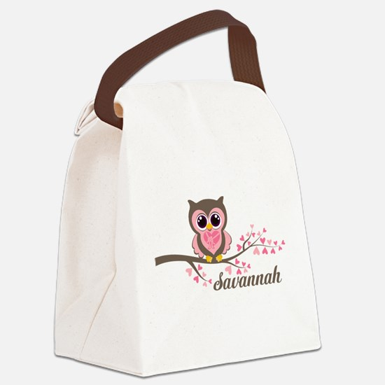 Custom Valentines Day owl Canvas Lunch Bag