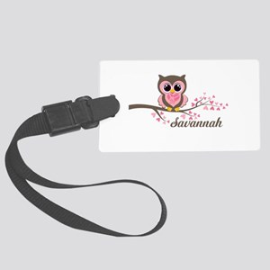 Custom Valentines Day owl Large Luggage Tag