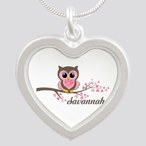 Custom Valentines Day owl Silver Heart Necklace