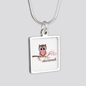 Custom Valentines Day owl Silver Square Necklace
