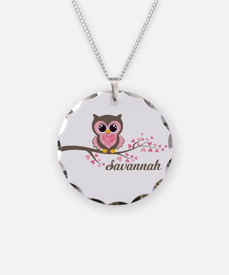 Custom Valentines Day owl Necklace Circle Charm