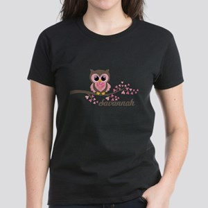 Custom Valentines Day owl Women's Dark T-Shirt