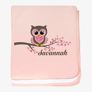 Custom Valentines Day owl baby blanket