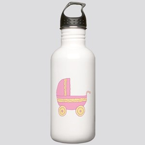 Pink and Yellow Stroller. Stainless Water Bottle 1