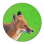 Red Fox Round Car Magnet
