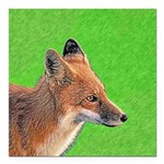 Red Fox Square Car Magnet 3