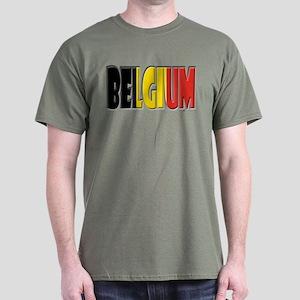 Word Art Flag of Belgium Dark T-Shirt