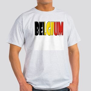 Word Art Flag of Belgium Ash Grey T-Shirt