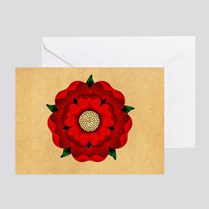 Red Rose Of Lancaster Greeting Cards (Pk of 20)