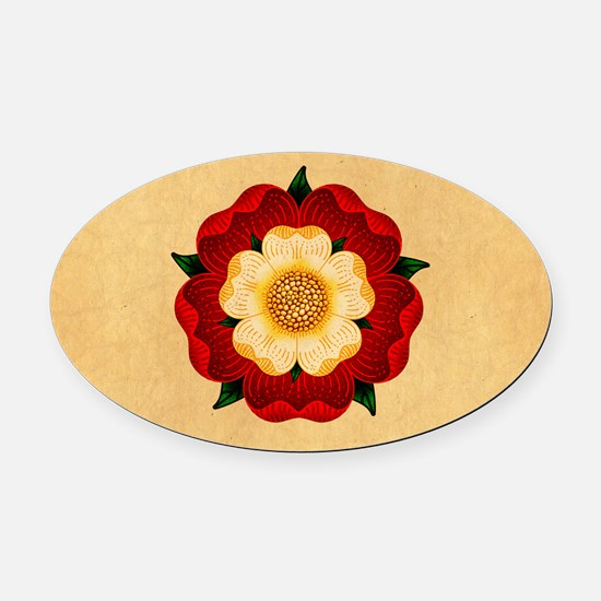 Tudor Rose Oval Car Magnet
