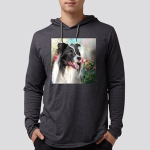 Border Collie Painting Mens Hooded Shirt