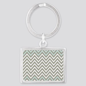 Cool Gray and Blue Chevron Landscape Keychain